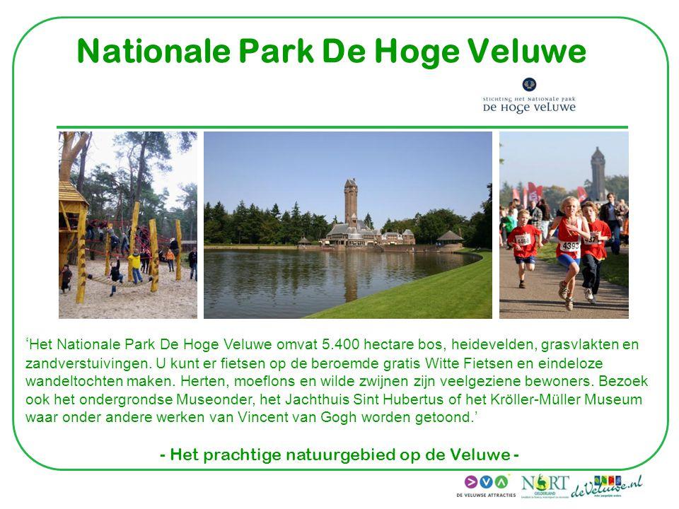 Nationale Park De Hoge Veluwe ' Het Nationale Park De Hoge Veluwe omvat 5.400 hectare bos, heidevelden, grasvlakten en zandverstuivingen. U kunt er fi