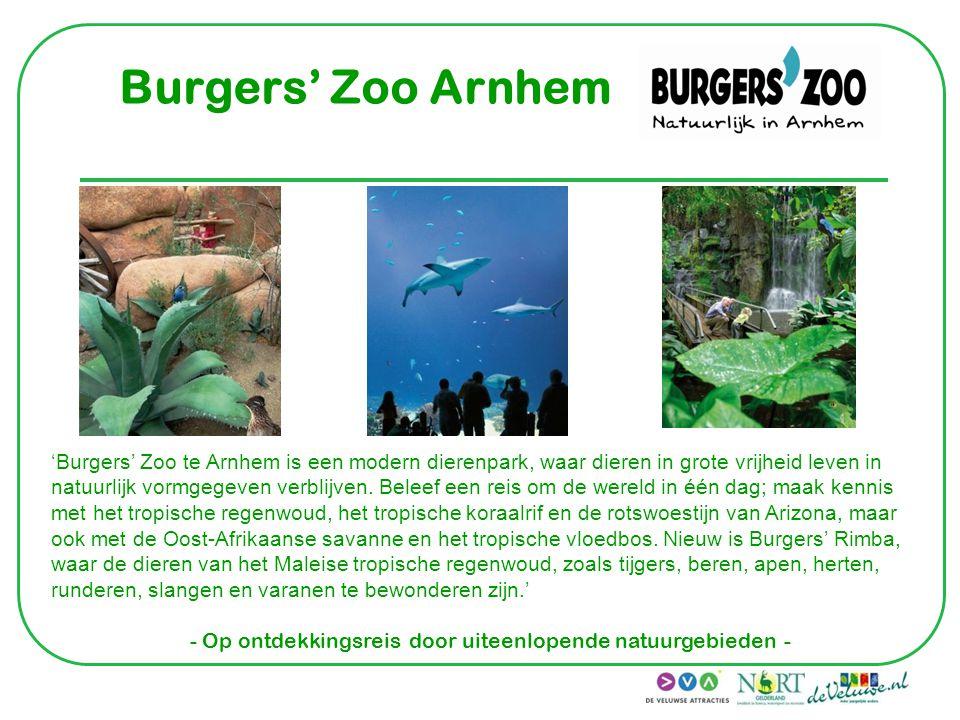 Burgers' Zoo Arnhem 'Burgers' Zoo te Arnhem is een modern dierenpark, waar dieren in grote vrijheid leven in natuurlijk vormgegeven verblijven. Beleef