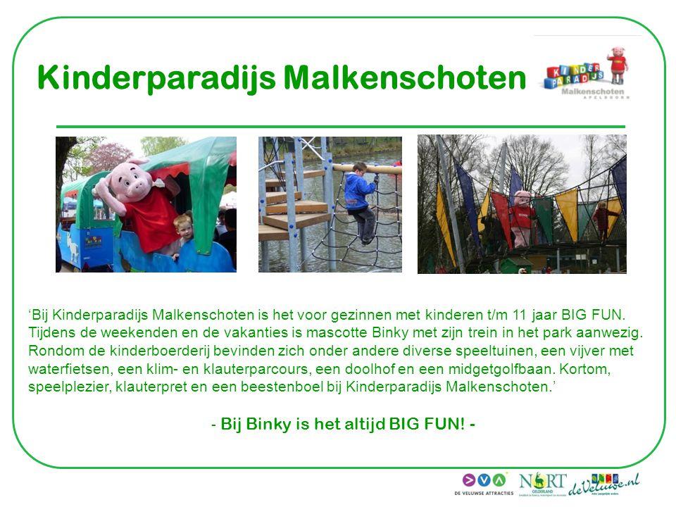 Kinderparadijs Malkenschoten 'Bij Kinderparadijs Malkenschoten is het voor gezinnen met kinderen t/m 11 jaar BIG FUN. Tijdens de weekenden en de vakan