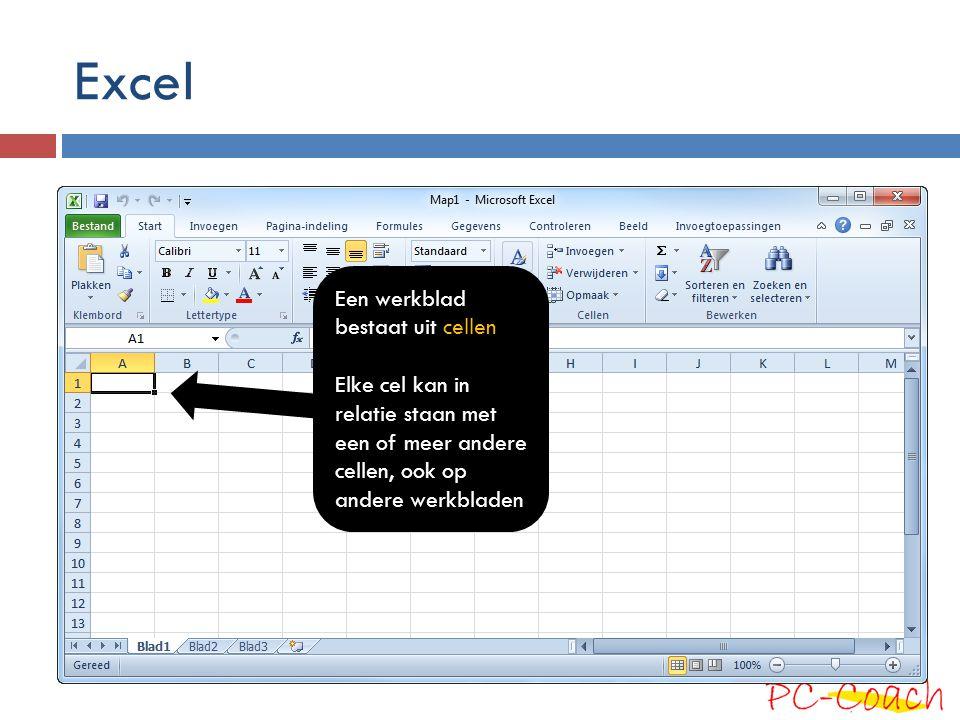 Excel Een werkblad bestaat uit cellen Elke cel kan in relatie staan met een of meer andere cellen, ook op andere werkbladen