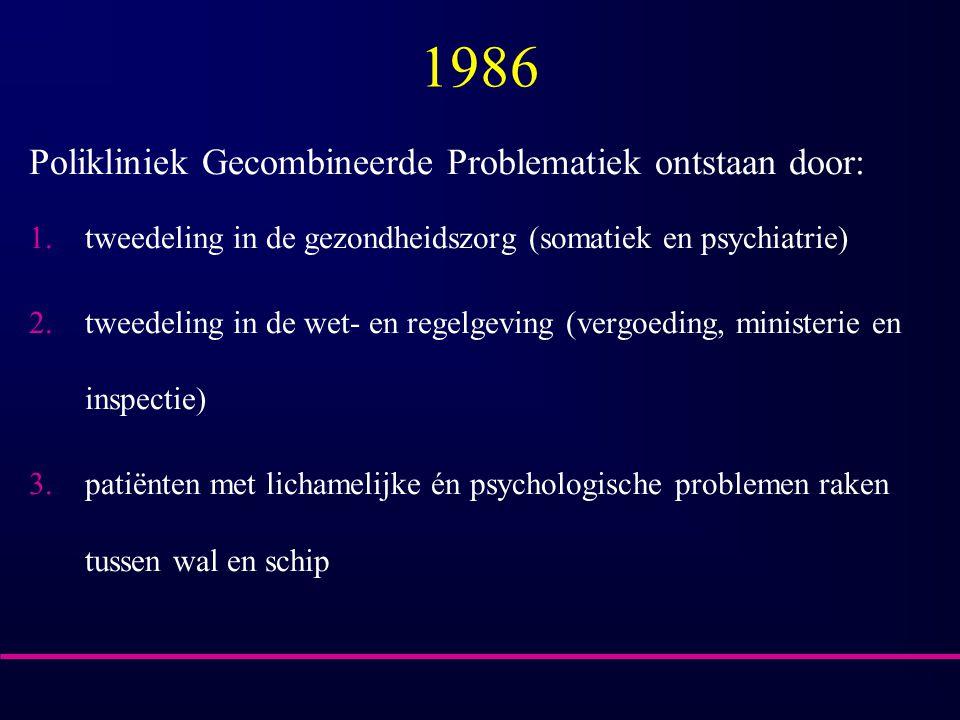 1986 Polikliniek Gecombineerde Problematiek ontstaan door: 1.tweedeling in de gezondheidszorg (somatiek en psychiatrie) 2.tweedeling in de wet- en regelgeving (vergoeding, ministerie en inspectie) 3.patiënten met lichamelijke én psychologische problemen raken tussen wal en schip