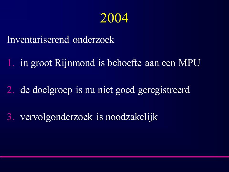 2004 Inventariserend onderzoek 1.in groot Rijnmond is behoefte aan een MPU 2.de doelgroep is nu niet goed geregistreerd 3.vervolgonderzoek is noodzakelijk