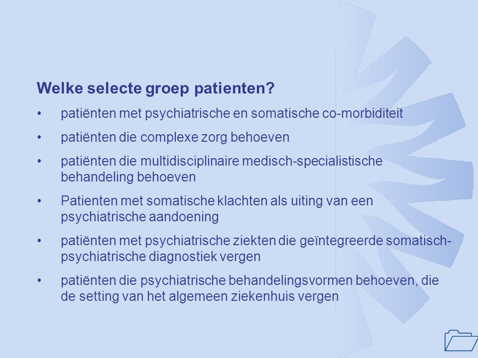 1 Samenvattend maart 2004: 1.Overheveling curatieve psychiatrie(waaronder ziekenhuispsychiatrie) naar 2e compartiment aanstaande 2.Met invoering DBC-systematiek bekostiging van Consultatieve Psychiatrie aanstaande 3.Steun bij NVvP en bij VWS voor uitgangspunten NFZP.