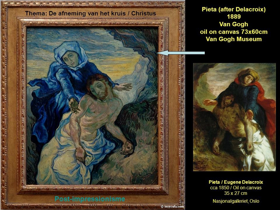 Pieta (after Delacroix) 1889 Van Gogh oil on canvas 73x60cm Van Gogh Museum Thema: De afneming van het kruis / Christus Post-impressionisme Pieta / Eu