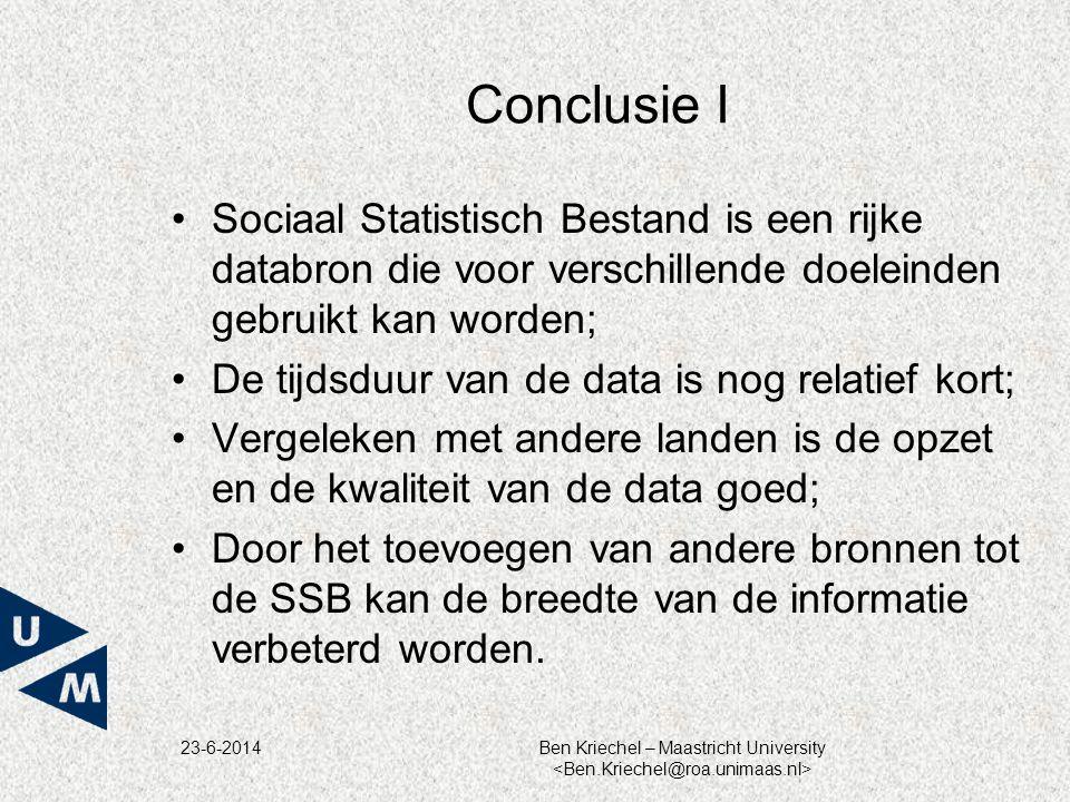 23-6-2014Ben Kriechel – Maastricht University Conclusie I •Sociaal Statistisch Bestand is een rijke databron die voor verschillende doeleinden gebruik