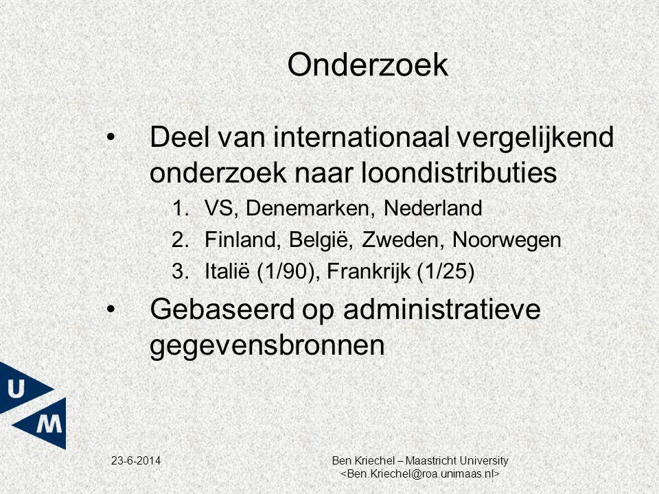 23-6-2014Ben Kriechel – Maastricht University Onderzoek •Deel van internationaal vergelijkend onderzoek naar loondistributies 1.VS, Denemarken, Nederl