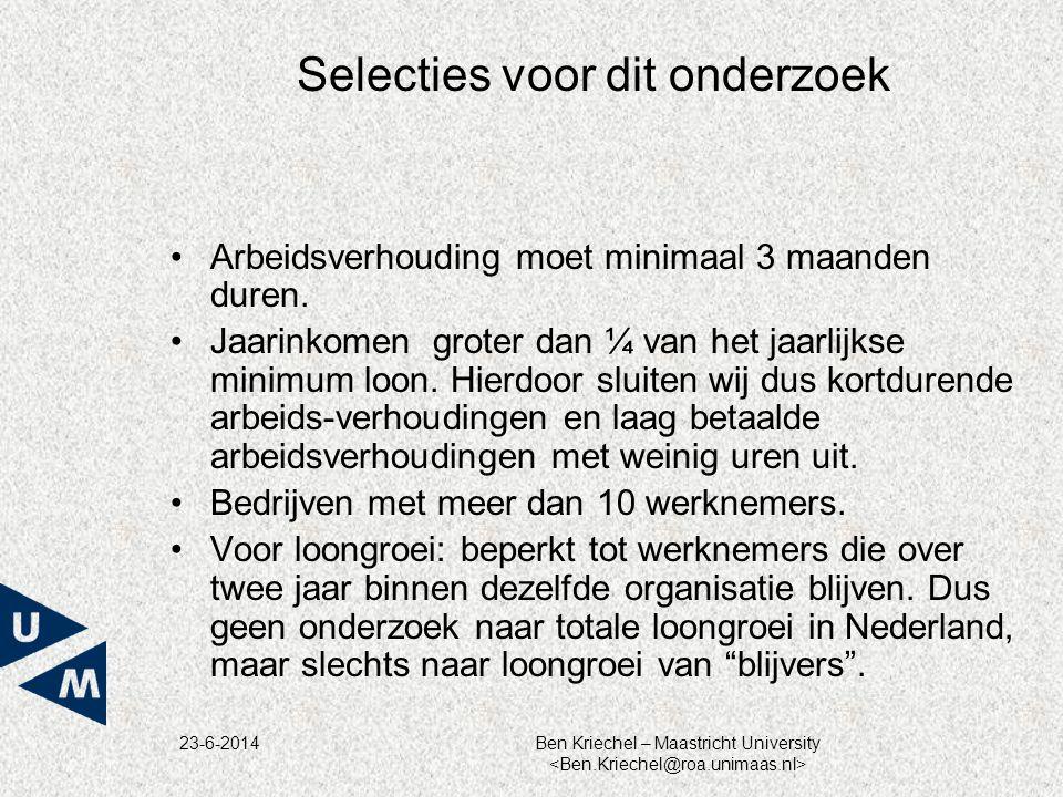 23-6-2014Ben Kriechel – Maastricht University Selecties voor dit onderzoek •Arbeidsverhouding moet minimaal 3 maanden duren. •Jaarinkomen groter dan ¼