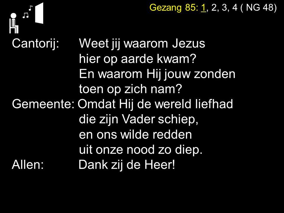 Gezang 85: 1, 2, 3, 4 ( NG 48) Cantorij: Weet jij waarom Jezus hier op aarde kwam? En waarom Hij jouw zonden toen op zich nam? Gemeente: Omdat Hij de