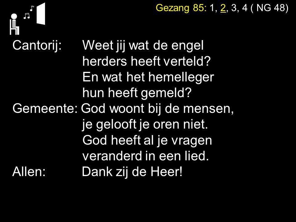 Gezang 85: 1, 2, 3, 4 ( NG 48) Cantorij: Weet jij wat de engel herders heeft verteld? En wat het hemelleger hun heeft gemeld? Gemeente: God woont bij