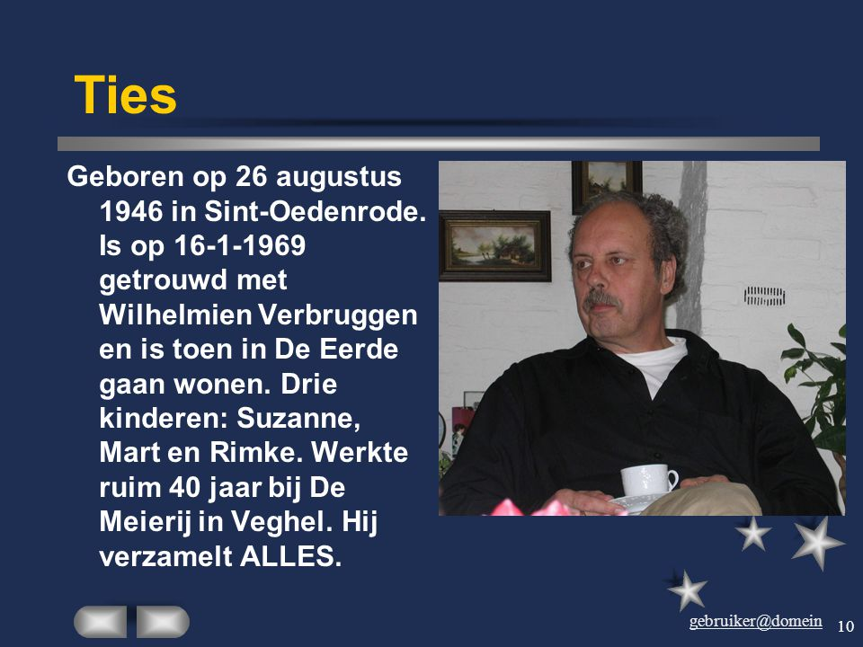 gebruiker@domein 9 Harry Geboren op 28 september 1943 in Sint-Oedenrode als 7e kind van Louiske van den Dungen. Trouwde op 2-12-1966 met Joke, 2 kinde