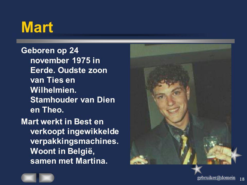 gebruiker@domein 17 Susanne Geboren op 25 november 1972 in Eerde. Oudste kind van Ties en Wilhelmien. Werkt als bouwkundige bij het Ministerie VROM en