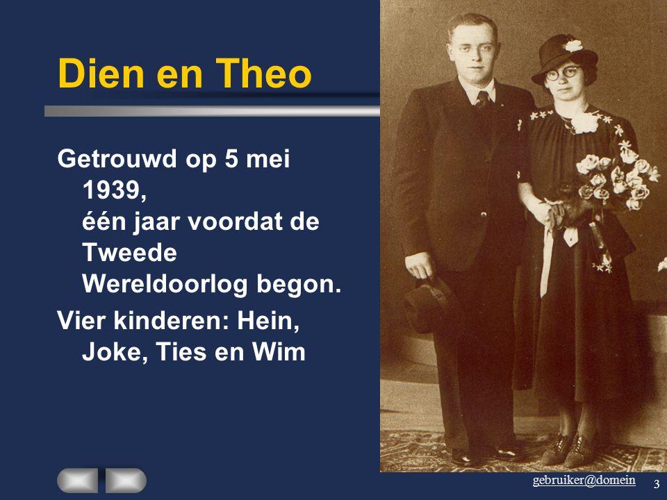 gebruiker@domein 3 Dien en Theo Getrouwd op 5 mei 1939, één jaar voordat de Tweede Wereldoorlog begon.