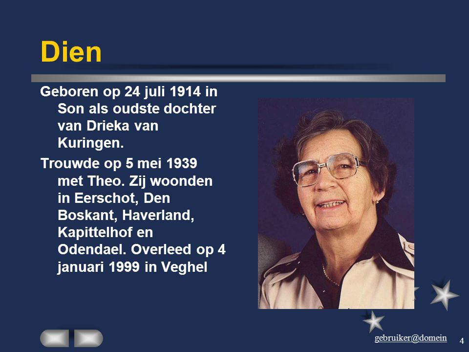 gebruiker@domein 3 Dien en Theo Getrouwd op 5 mei 1939, één jaar voordat de Tweede Wereldoorlog begon. Vier kinderen: Hein, Joke, Ties en Wim