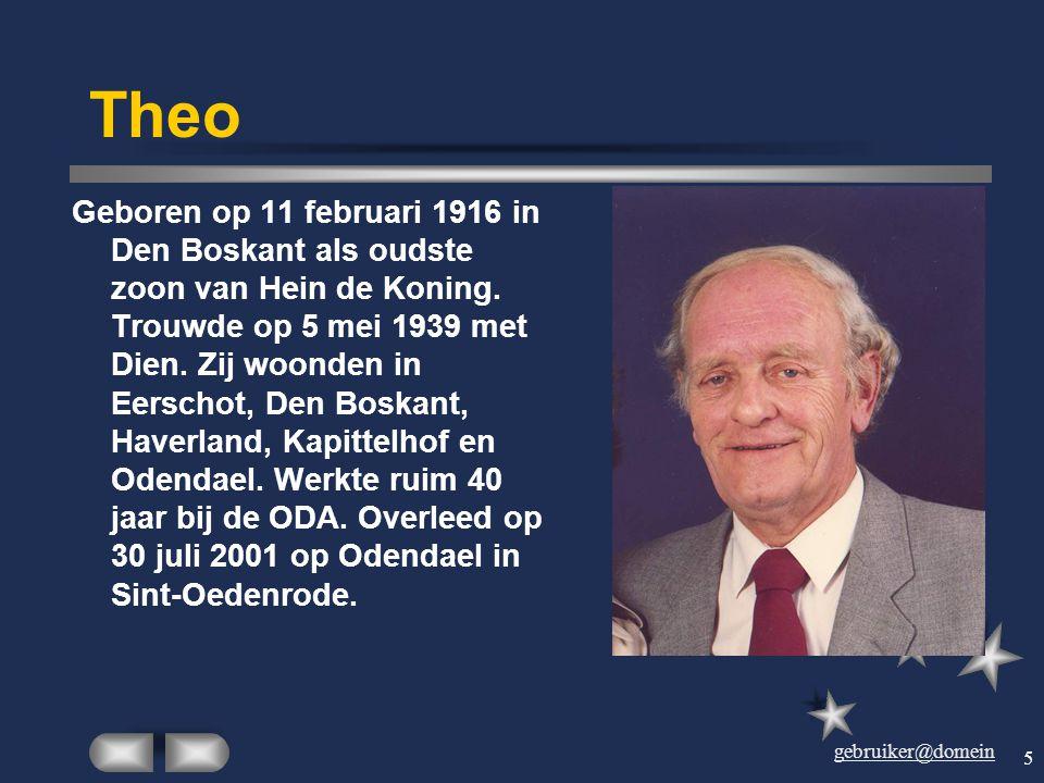 gebruiker@domein 4 Dien Geboren op 24 juli 1914 in Son als oudste dochter van Drieka van Kuringen. Trouwde op 5 mei 1939 met Theo. Zij woonden in Eers