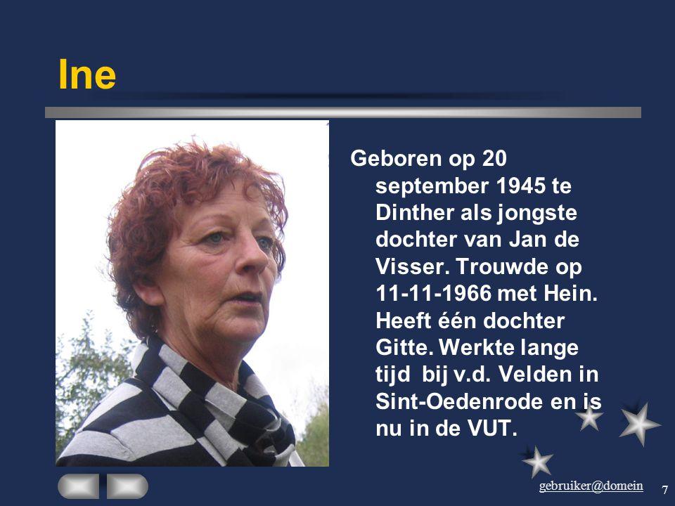 gebruiker@domein 6 Hein Geboren op 30 september 1940 in Eerschot, op 11- 11-1966 getrouwd met Ine de Visser. Op 25 september 1967 werd hun dochter Git
