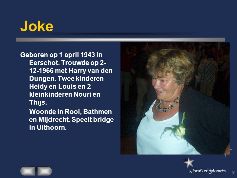 gebruiker@domein 7 Ine Geboren op 20 september 1945 te Dinther als jongste dochter van Jan de Visser. Trouwde op 11-11-1966 met Hein. Heeft één dochte