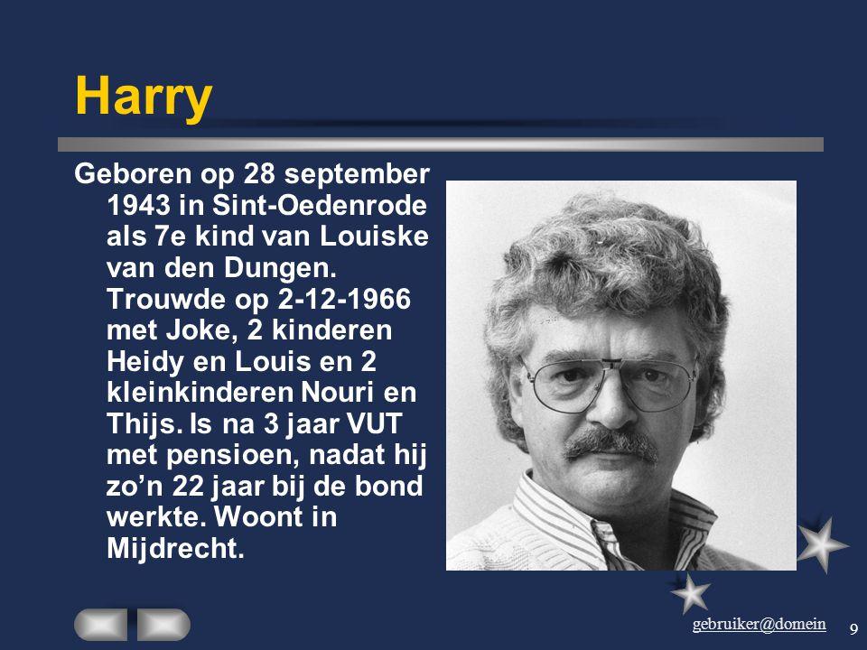 gebruiker@domein 8 Joke Geboren op 1 april 1943 in Eerschot. Trouwde op 2- 12-1966 met Harry van den Dungen. Twee kinderen Heidy en Louis en 2 kleinki