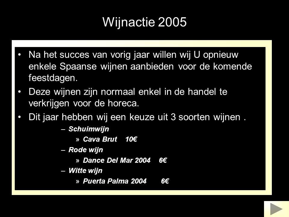 Wijnactie 2005 •Na het succes van vorig jaar willen wij U opnieuw enkele Spaanse wijnen aanbieden voor de komende feestdagen. •Deze wijnen zijn normaa