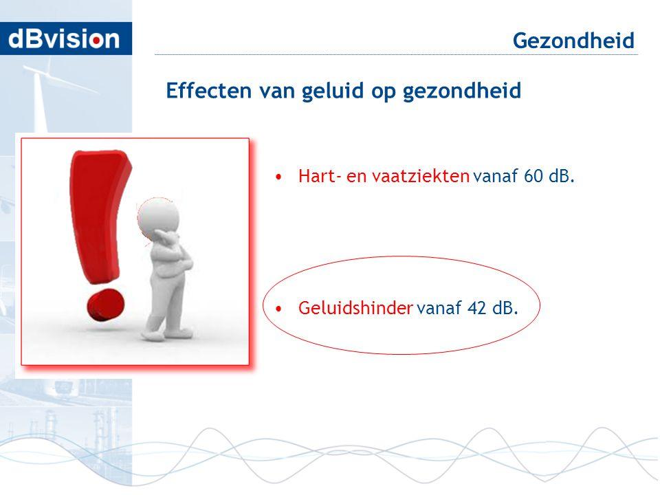 •Hart- en vaatziekten vanaf 60 dB. •Geluidshinder vanaf 42 dB. Gezondheid Effecten van geluid op gezondheid