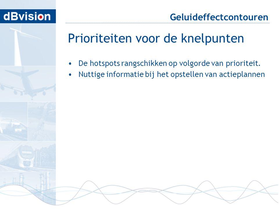 Geluideffectcontouren Prioriteiten voor de knelpunten •De hotspots rangschikken op volgorde van prioriteit. •Nuttige informatie bij het opstellen van