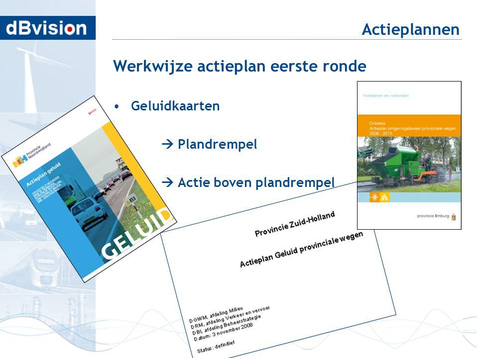 Werkwijze actieplan eerste ronde •Geluidkaarten  Plandrempel  Actie boven plandrempel Actieplannen