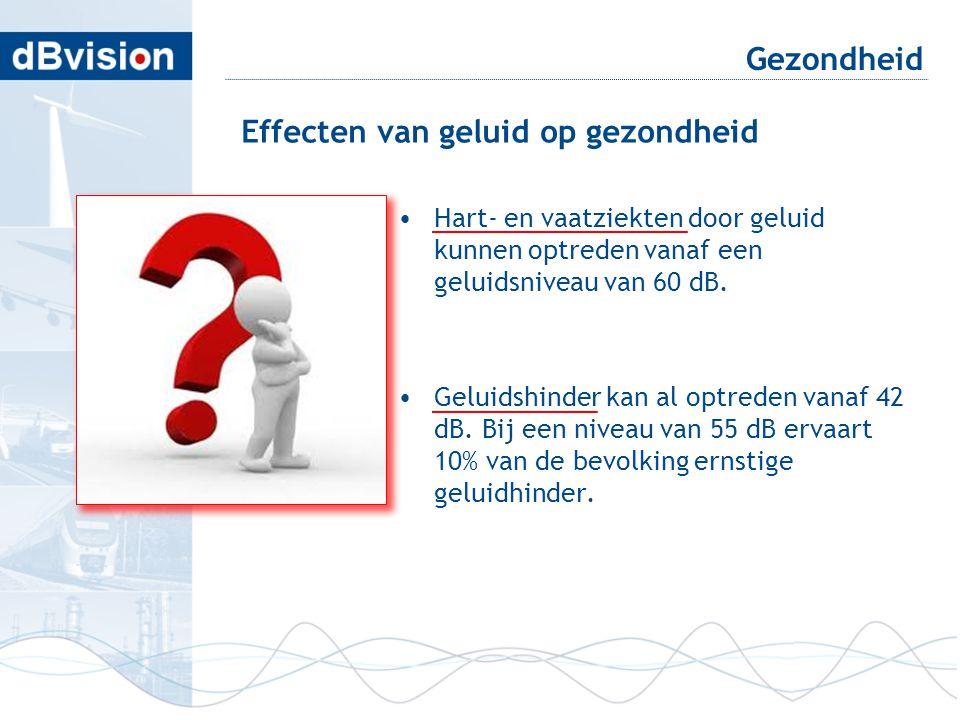 •Hart- en vaatziekten door geluid kunnen optreden vanaf een geluidsniveau van 60 dB. •Geluidshinder kan al optreden vanaf 42 dB. Bij een niveau van 55