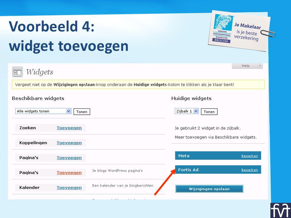 Voorbeeld 4: widget toevoegen
