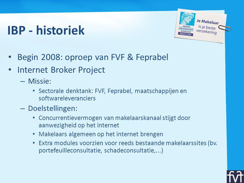 IBP - historiek • Begin 2008: oproep van FVF & Feprabel • Internet Broker Project – Missie: • Sectorale denktank: FVF, Feprabel, maatschappijen en sof