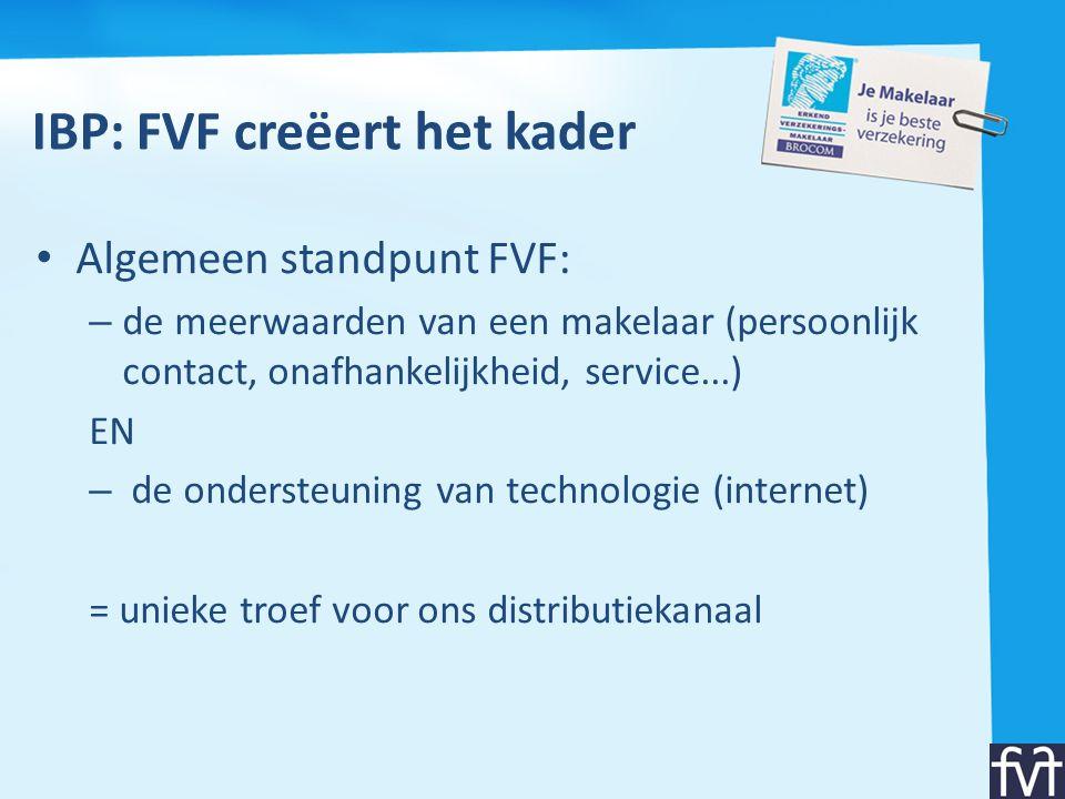 IBP: FVF creëert het kader • Algemeen standpunt FVF: – de meerwaarden van een makelaar (persoonlijk contact, onafhankelijkheid, service...) EN – de on