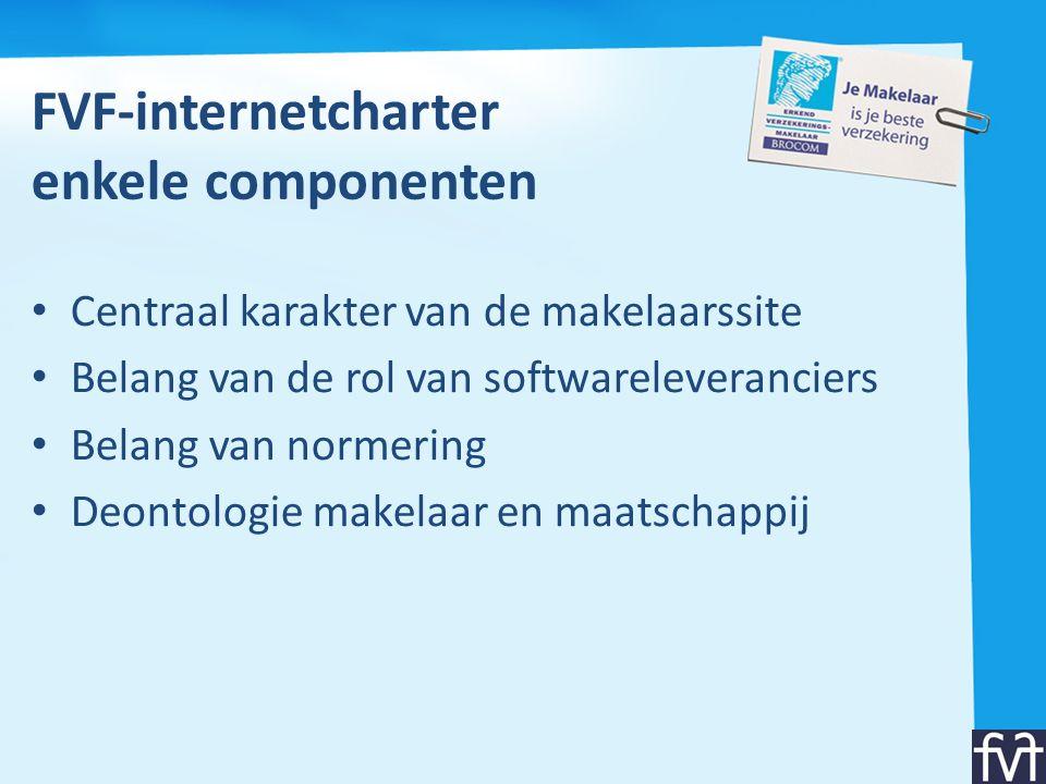 FVF-internetcharter enkele componenten • Centraal karakter van de makelaarssite • Belang van de rol van softwareleveranciers • Belang van normering •