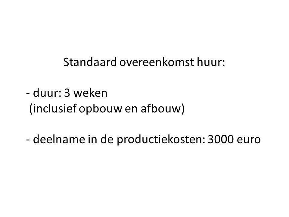 Standaard overeenkomst huur: - duur: 3 weken (inclusief opbouw en afbouw) - deelname in de productiekosten: 3000 euro