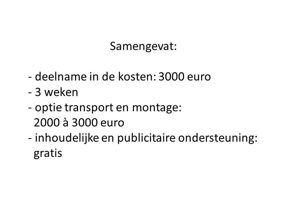 Samengevat: - deelname in de kosten: 3000 euro - 3 weken - optie transport en montage: 2000 à 3000 euro - inhoudelijke en publicitaire ondersteuning: gratis