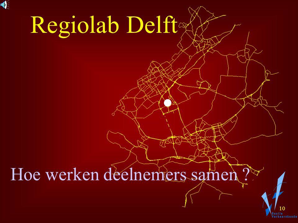 9 Doel: Verwerf kennis en inzicht Pas nieuwe technieken toe Samenwerking wegbeheerders Regiolab Delft