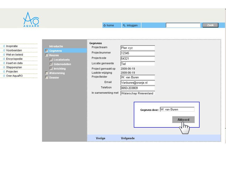 Vanuit het projectdossier kunt u direct de locatietoets uitvoeren en toevoegen aan het betreffende project