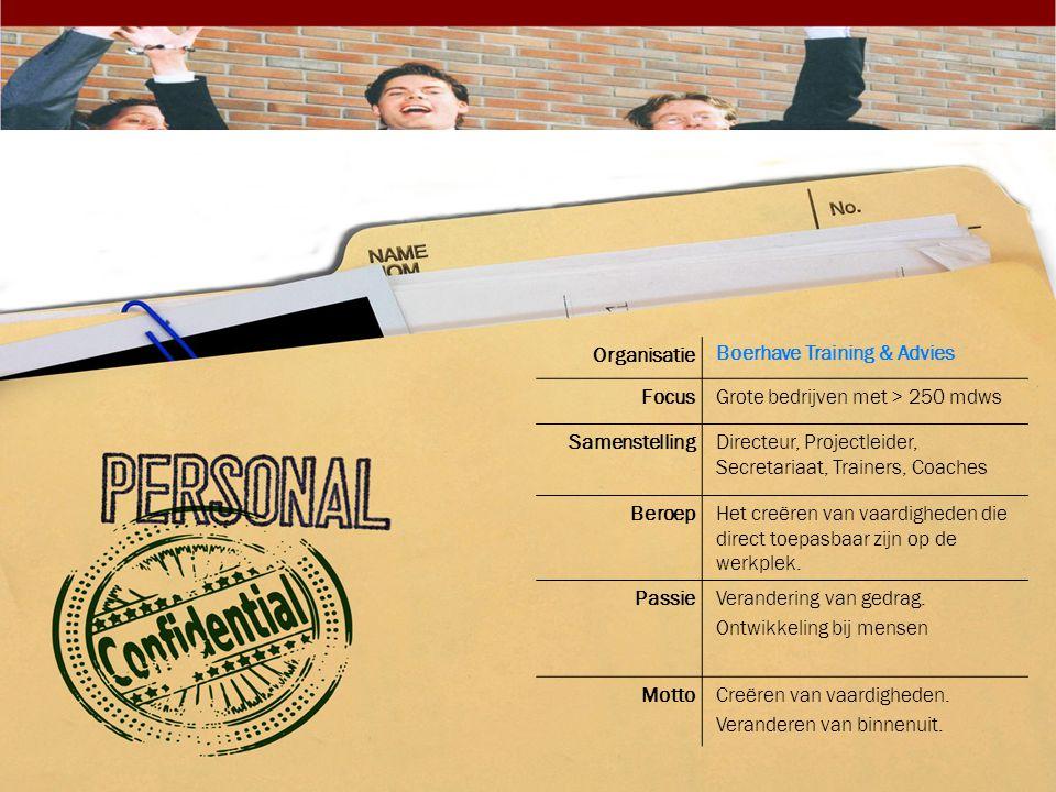 Organisatie Boerhave Training & Advies FocusGrote bedrijven met > 250 mdws SamenstellingDirecteur, Projectleider, Secretariaat, Trainers, Coaches Bero
