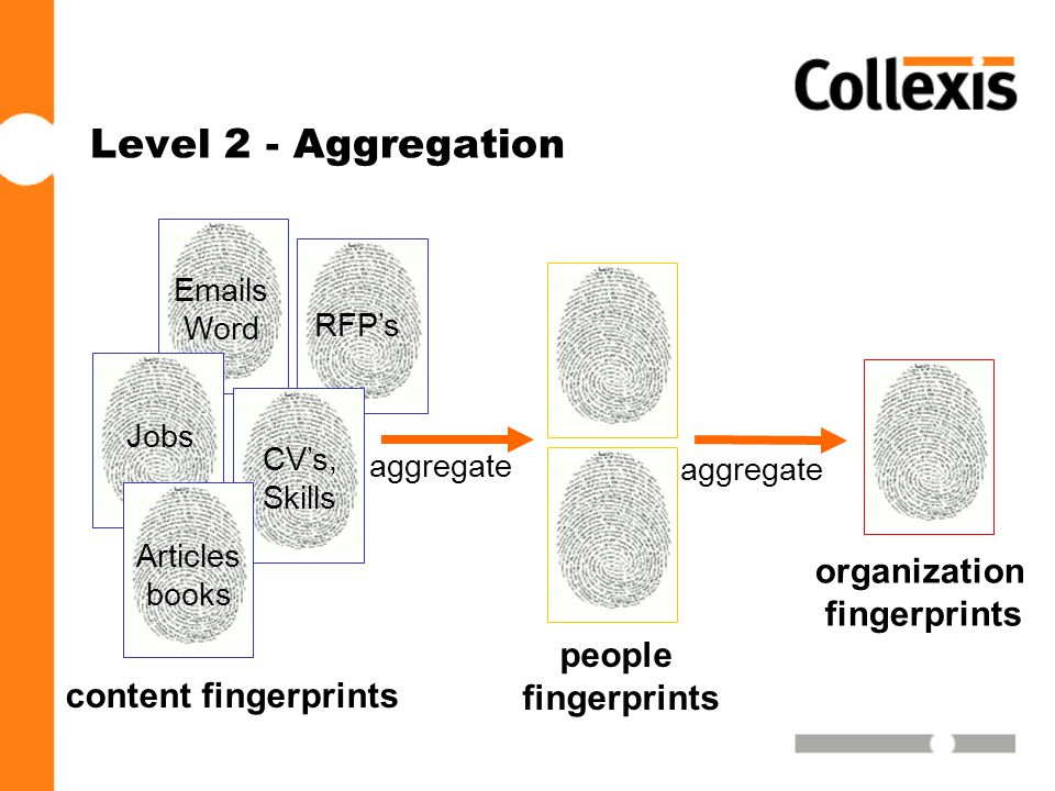 Level 2 - Aggregation content fingerprints Jobs CV's, Skills Articles books  s Word RFP's people fingerprints aggregate organization fingerprints aggregate
