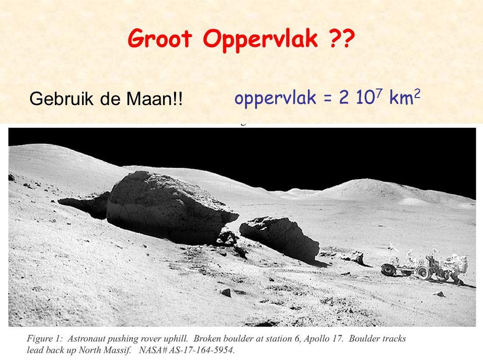 B'sap4 Groot Oppervlak ?? Gebruik de Maan!! oppervlak = 2 10 7 km 2