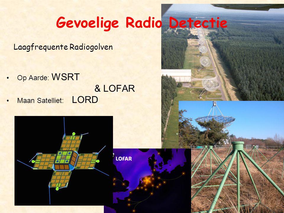 B'sap6 Gevoelige Radio Detectie •Op Aarde: WSRT & LOFAR •Maan Satelliet: LORD Laagfrequente Radiogolven
