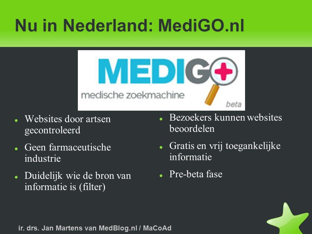 ir. drs. Jan Martens van MedBlog.nl / MaCoAd Zoekresultaat MediGO.nl