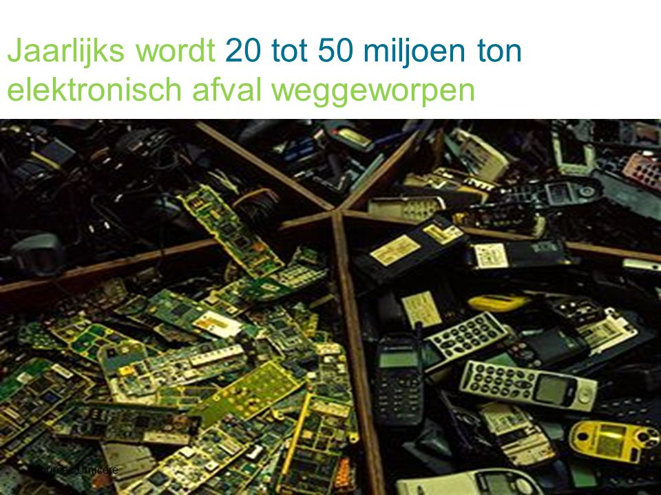 Jaarlijks wordt 20 tot 50 miljoen ton elektronisch afval weggeworpen Source : Umicore