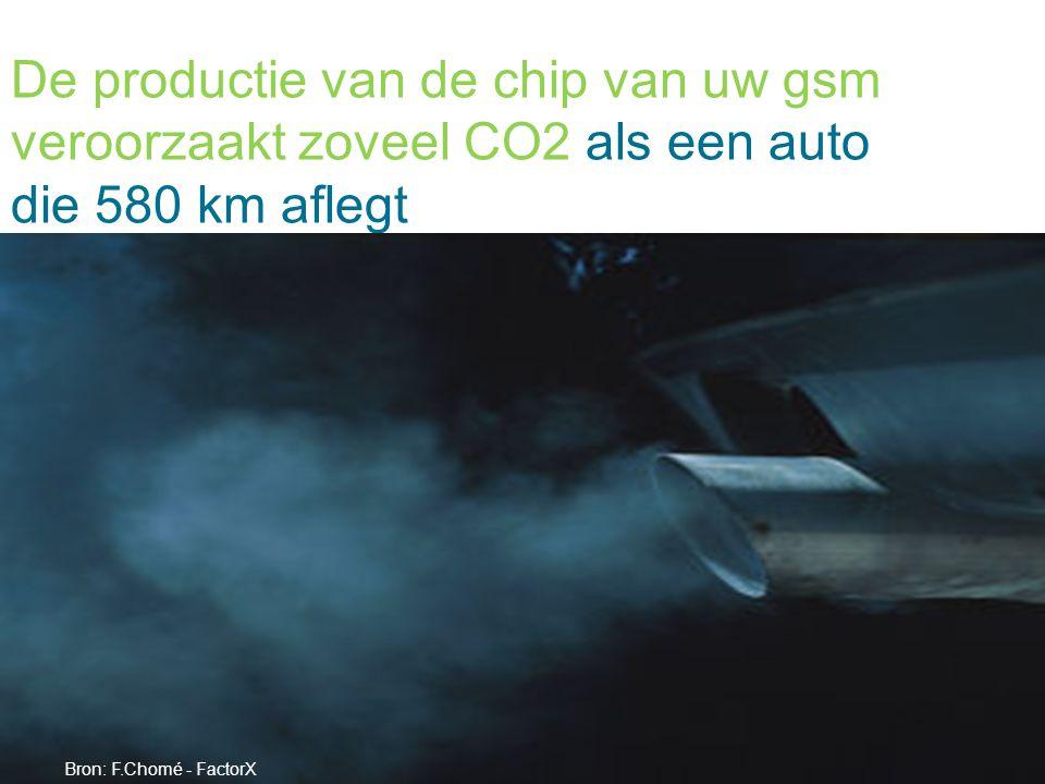 De productie van de chip van uw gsm veroorzaakt zoveel CO2 als een auto die 580 km aflegt Bron: F.Chomé - FactorX