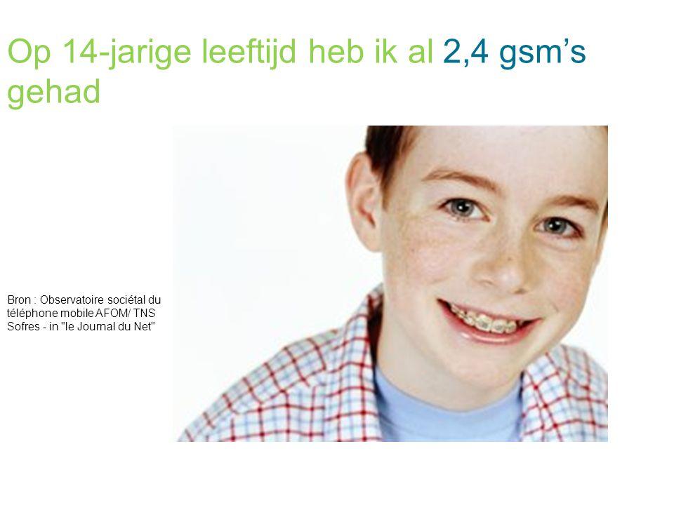 Op 14-jarige leeftijd heb ik al 2,4 gsm's gehad Bron : Observatoire sociétal du téléphone mobile AFOM/ TNS Sofres - in le Journal du Net