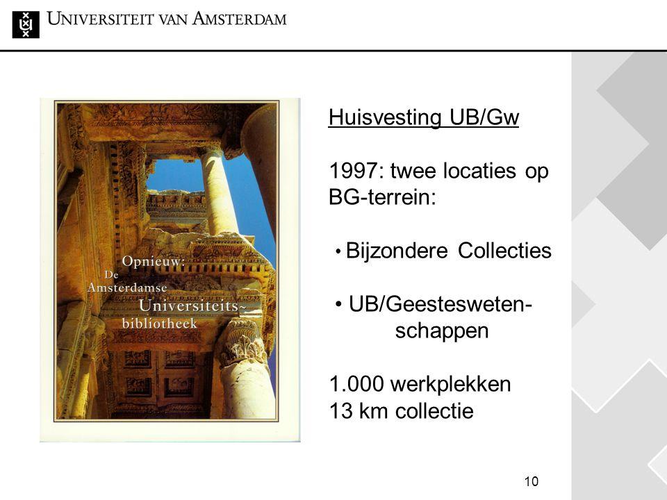 10 Huisvesting UB/Gw 1997: twee locaties op BG-terrein: • Bijzondere Collecties • UB/Geestesweten- schappen 1.000 werkplekken 13 km collectie