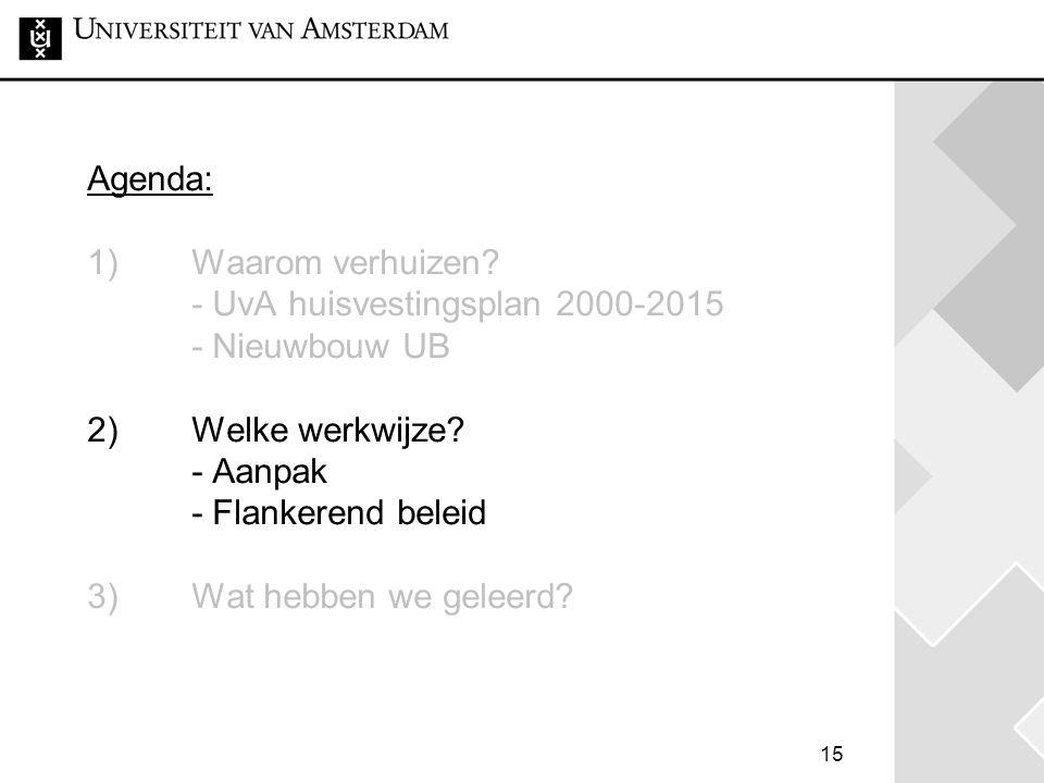 15 Agenda: 1) Waarom verhuizen.- UvA huisvestingsplan 2000-2015 - Nieuwbouw UB 2) Welke werkwijze.