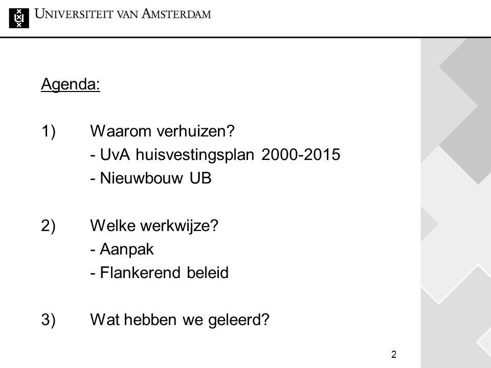 2 Agenda: 1) Waarom verhuizen.- UvA huisvestingsplan 2000-2015 - Nieuwbouw UB 2) Welke werkwijze.