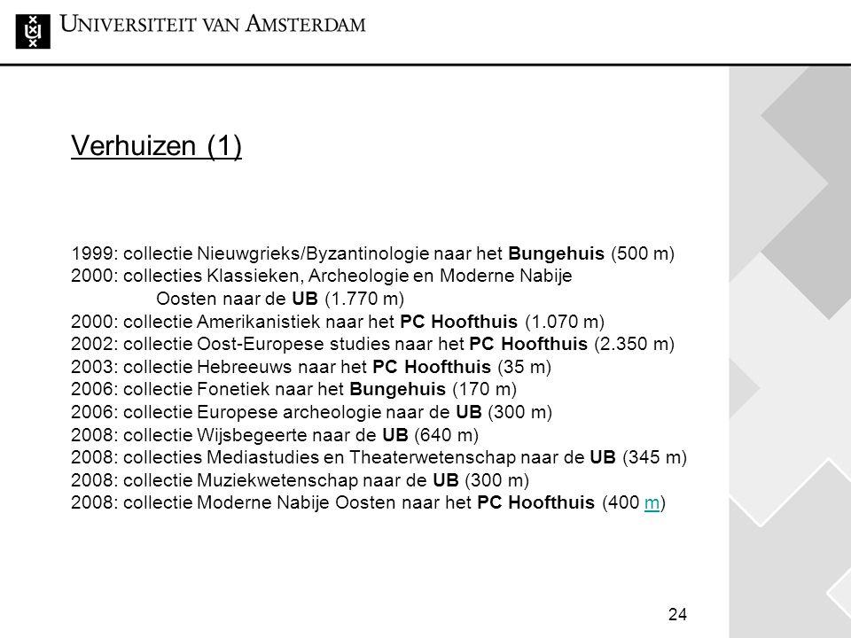 24 Verhuizen (1) 1999: collectie Nieuwgrieks/Byzantinologie naar het Bungehuis (500 m) 2000: collecties Klassieken, Archeologie en Moderne Nabije Oosten naar de UB (1.770 m) 2000: collectie Amerikanistiek naar het PC Hoofthuis (1.070 m) 2002: collectie Oost-Europese studies naar het PC Hoofthuis (2.350 m) 2003: collectie Hebreeuws naar het PC Hoofthuis (35 m) 2006: collectie Fonetiek naar het Bungehuis (170 m) 2006: collectie Europese archeologie naar de UB (300 m) 2008: collectie Wijsbegeerte naar de UB (640 m) 2008: collecties Mediastudies en Theaterwetenschap naar de UB (345 m) 2008: collectie Muziekwetenschap naar de UB (300 m) 2008: collectie Moderne Nabije Oosten naar het PC Hoofthuis (400 m)m