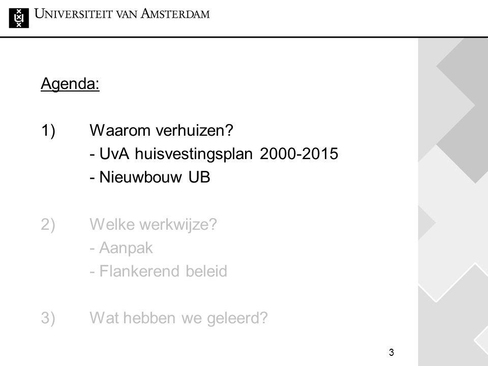 3 Agenda: 1) Waarom verhuizen.- UvA huisvestingsplan 2000-2015 - Nieuwbouw UB 2) Welke werkwijze.