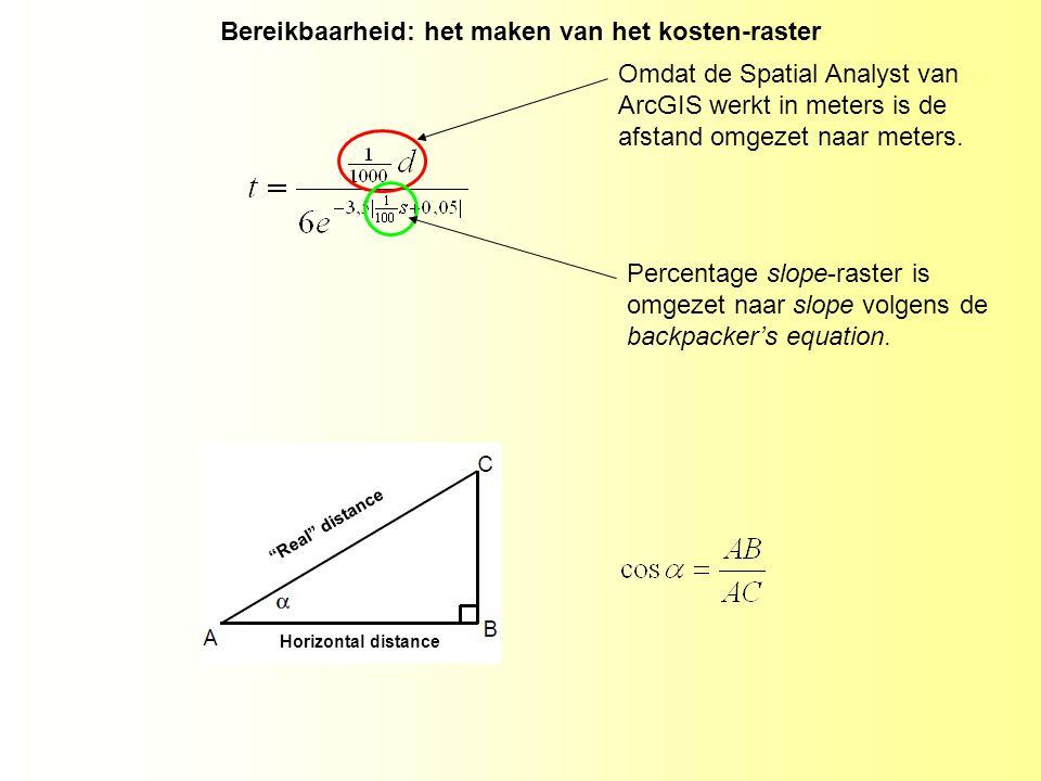 Omdat de Spatial Analyst van ArcGIS werkt in meters is de afstand omgezet naar meters.