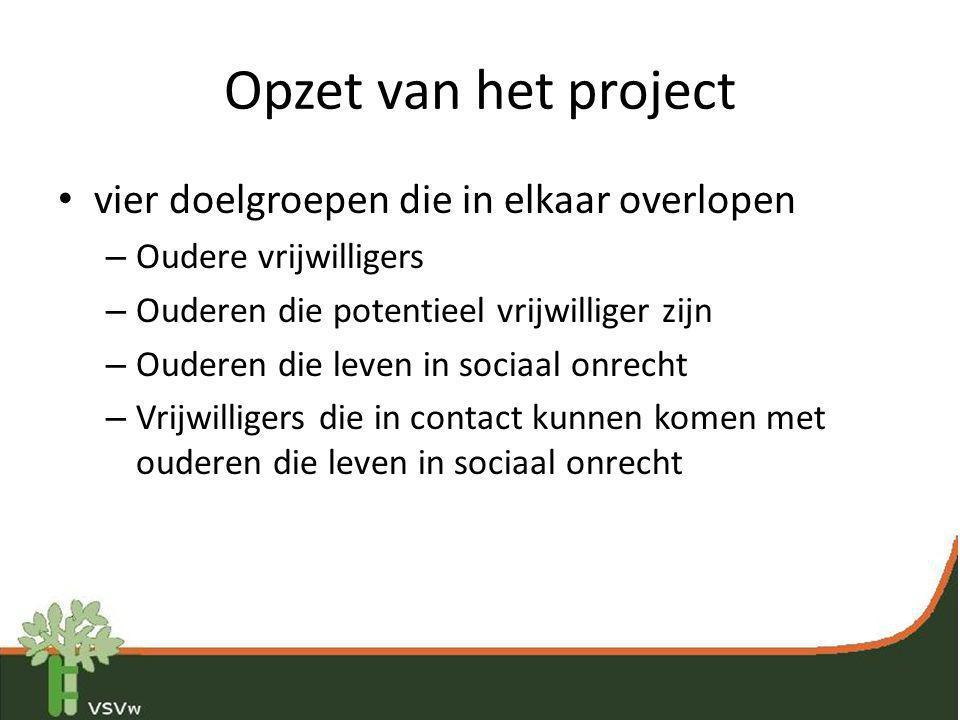Opzet van het project • vier doelgroepen die in elkaar overlopen – Oudere vrijwilligers – Ouderen die potentieel vrijwilliger zijn – Ouderen die leven