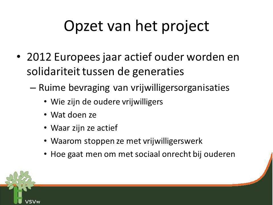 Opzet van het project • 2012 Europees jaar actief ouder worden en solidariteit tussen de generaties – Ruime bevraging van vrijwilligersorganisaties •